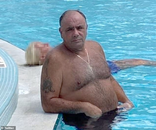 Ralph DiMatteo, 66,(pictured) taunts the FBI with a pool picture after federal law enforcement arrested other members of hisColombo crime family