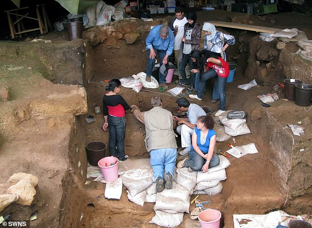 Archaeologists have been seen excavating in a Moroccan cave in North Africa
