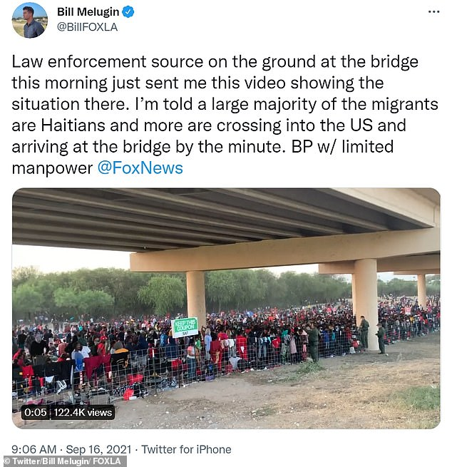 The migrantswere seen waiting under the International Bridge in Del Rio, Texas for processing on Thursday