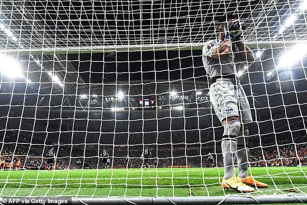 Lazio keeper Thomas Strakosha reacts to scoring an own goal to handGalatasaray a 1-0 win