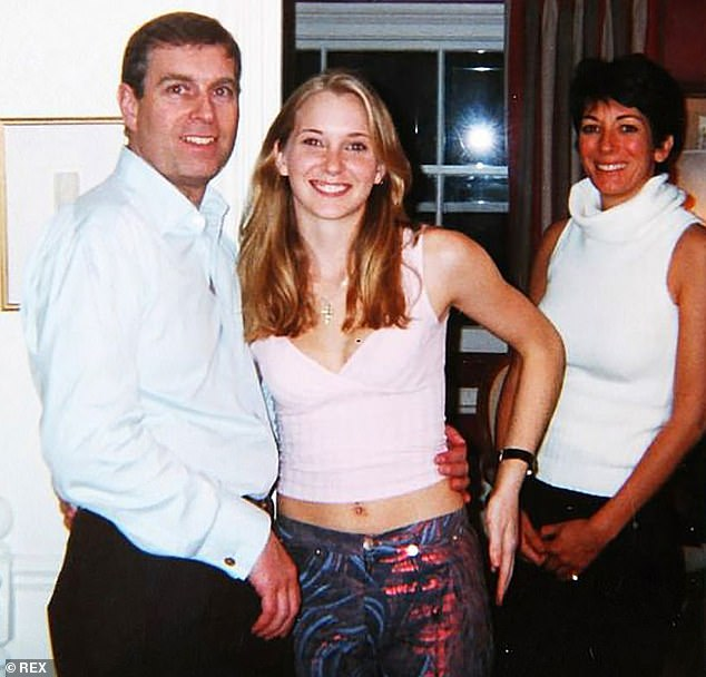 Prince Andrew, Virginia Roberts, then 17, and Ghislaine Maxwell are pictured at Maxwell's townhouse in London in 2001