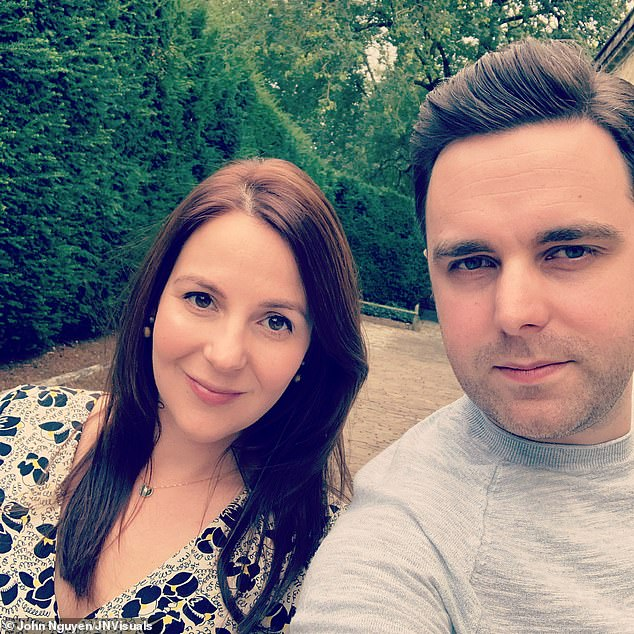 The accident wiped out Rachael's short-term memory so her last recollection of Louis is from the previous weekend. She is pictured with her husband Chris