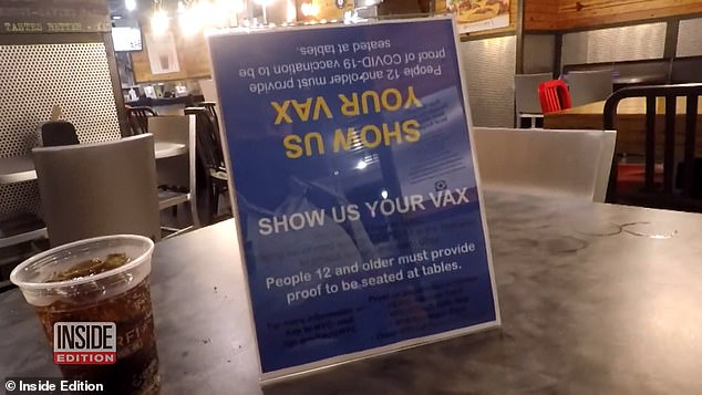 Despite signs that read 'show us your vax,' hosts at Burger Fi in the Upper East Side seated producers without asking to see proof of their vaccine
