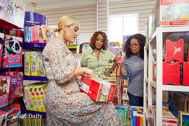 Shopping: Oprah Winfrey enlisted the help of new mother Katy Perry to help her friend and future grandmother Gayle King with baby shopping