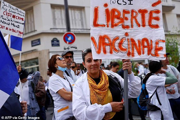 Hospitals, care homes and health centers have suspended nearly 3,000 workers across France for failing to comply with mandatory COVID-19 vaccinations after the government refused to return to mandatory jabs despite massive protests .