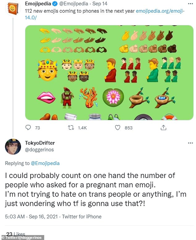 Twitter user @doggerinos said: 'I can probably count on one hand the number of people who asked for a pregnant male emoji'