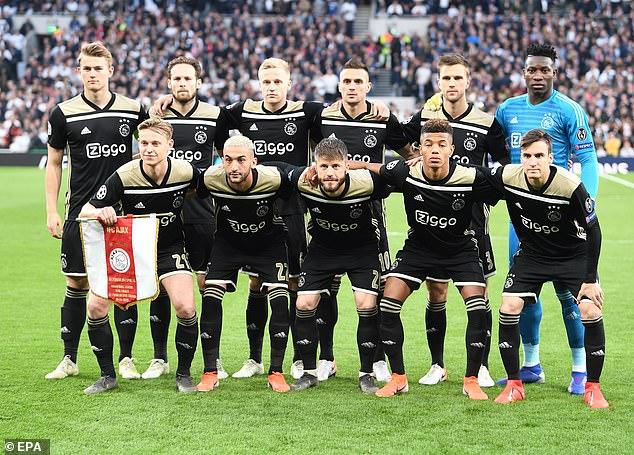 Ajax reached the Champions League semi-finals in 2019. Rear from left: Matthijs de Ligt, Daley Blind, Donny Van de Beek, Dusan Tadic, Joel Veltman and goalkeeper Andre Onana. Front from left: Frenkie de Jong, Hakim Ziyech, Lasse Schoene, David Neres and Nicolas Tagliafico