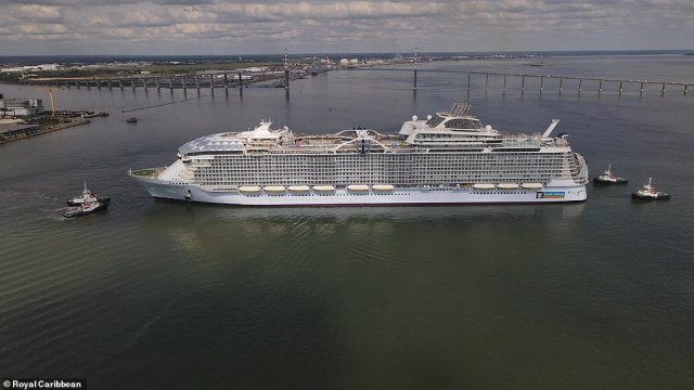 Wonder of the Seas is 210ft (64m) wide, can accommodate 6,988 guests across 16 of her 18 decks, has 24 guest elevators, will have 2,300 crew members and can cruise at 22 knots (25mph)