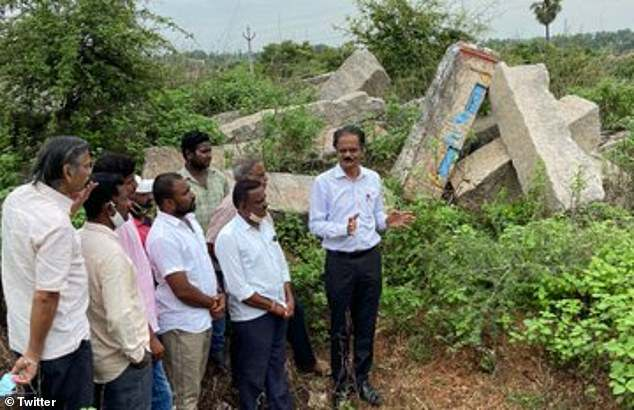 In August, archaeologist E.  Sivanagi Reddy (centre) found a 14th-century Tamil inscription at the Kodanda Ramaswamy Temple, where the idol was discovered.