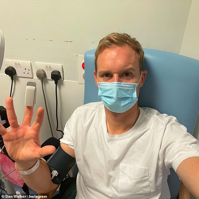 Ouch: Dan Walker revealed he sustained his first serious injury after hitting a glass door during training - and on Friday updated fans from A&E on his condition.