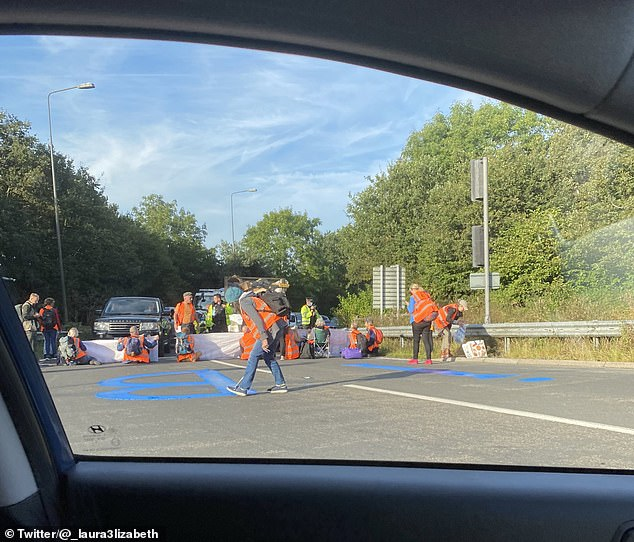 But the eco-warriors did shut it at junction 9 - and daubed the carriageway with blue paint saying 'IB' - short for Insulate Britain