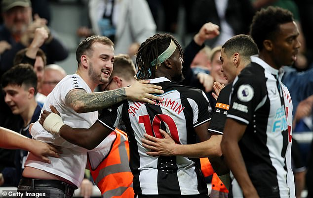 Newcastle fans got behind their team following the Frenchman's heroic equaliser
