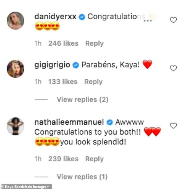 Kind: Congratulatory messages quickly started pouring in with Love Island's Dani Dyer writing: 'Congratulations,' along with a string of heart-eye emojis