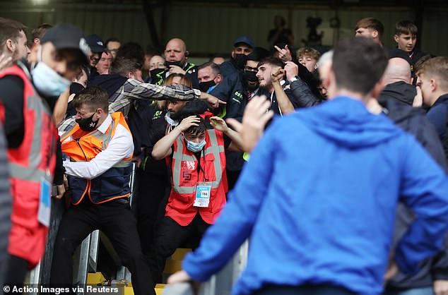 Stewards caught in scuffle after final whistle on Saturday