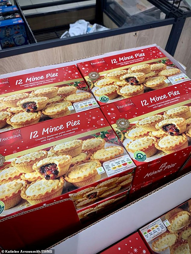 Christmas mince pies stocked at Tesco, South Queensferry. Usually Christmas items are not put on display until later in the year