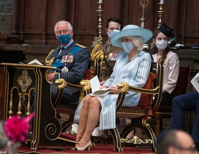 Once inside the abbey, the Duchess wore a face covering that matched her outfit as the couple took their seats for the service.