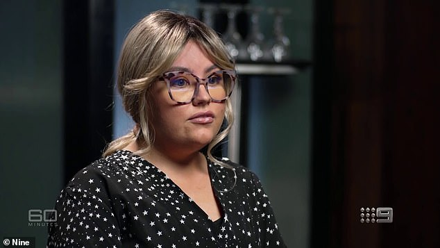 Katherine (pictured) told 60 Minutes she stayed back after a bible studies class one night to help pack up the room, where she claims she was raped by another Hillsong member