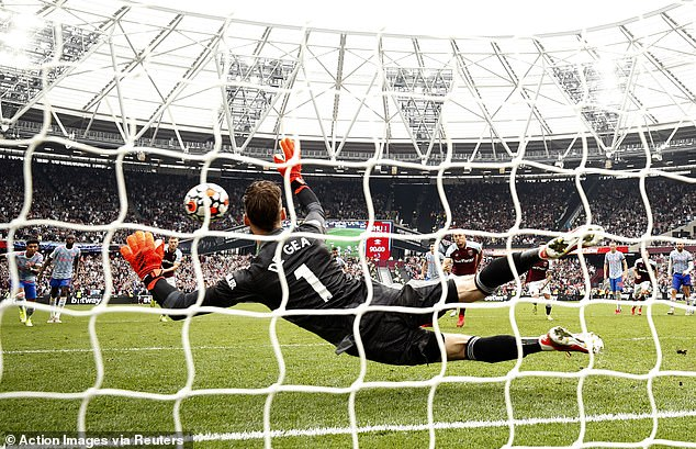 However, his spot-kick was brilliantly saved by David de Gea at the dramatic end of the game.