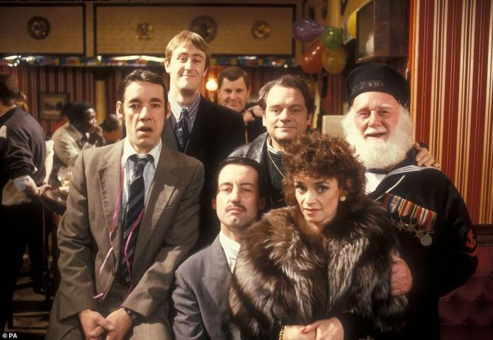 Kind: This comes after Sunday when Sir David described John as 'a gentleman in the true sense of the word' as he paid tribute to the actor.  Pictured: John Chalice (centre) with Sir David Jason, Roger Lloyd Pack, Nicholas Lindhurst, Buster Merrifield and Sue Holderness