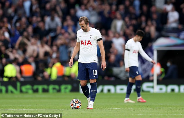 Roy Keane has urged Harry Kane (L) to be more aggressive after Tottenham's 3-0 defeat vs Chelsea