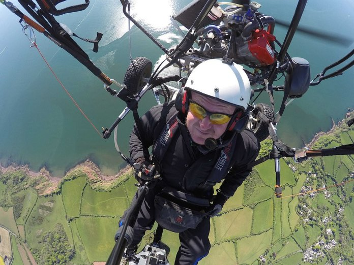 Pictured: Paraglider pilot Dan Burton, 54, who was killed in a crash near Unapool in the Scottish Highlands this weekend