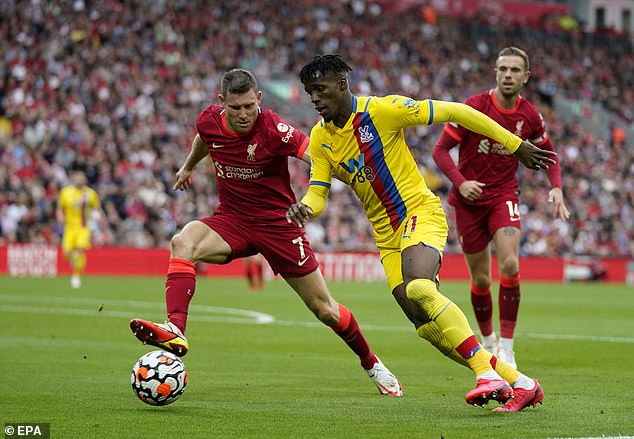 Milner endured a tough assignment tracking Wilfried Zaha against Crystal Palace on Saturday