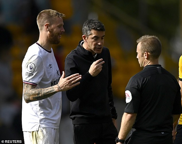 Wolves manager Bruno Lage (pictured centre) criticised Brentford for their gamesmanship