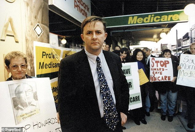Mr Albanese is pictured campaigning for Medicare services in 1996 when he first joined parliament