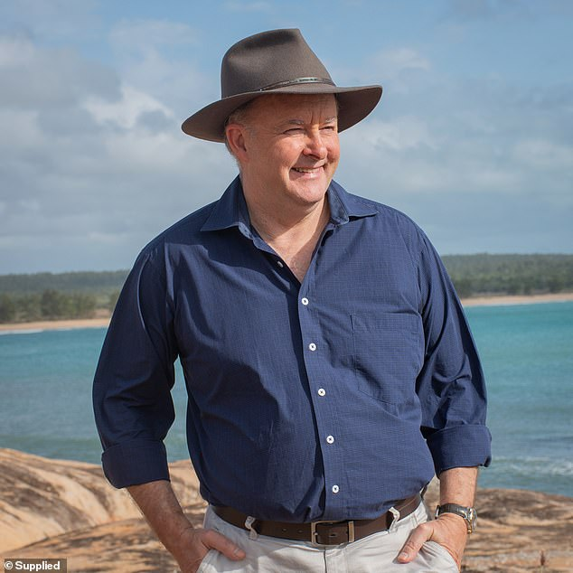 The Labor leader is pictured in April 2020 before he decided to lose weight. His staff affectionately refer to this period of his life as 'jolly Anthony' in reference to his larger physique