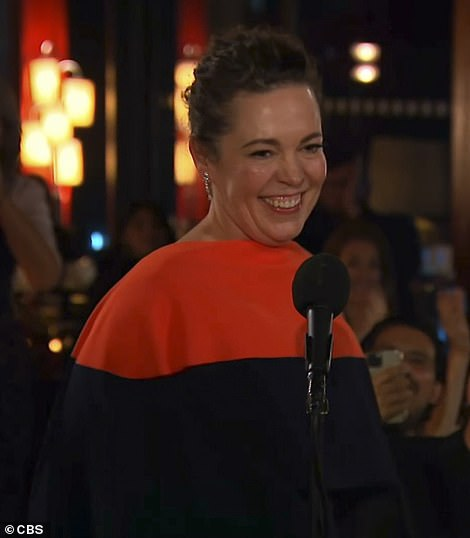 Royalty:Olivia Colman delivered a short but moving speech as she accepted her award for Lead Actress in a Drama Series for The Crown