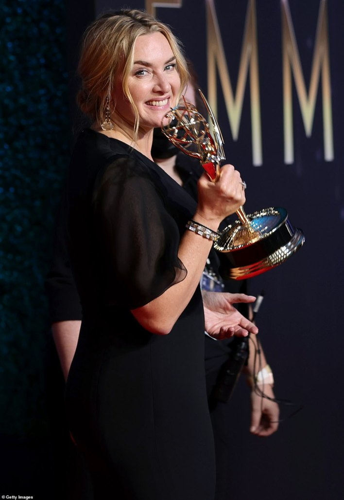 Repeat performance: Winslet won the same award 10 years earlier for her HBO miniseries Mildred Pierce