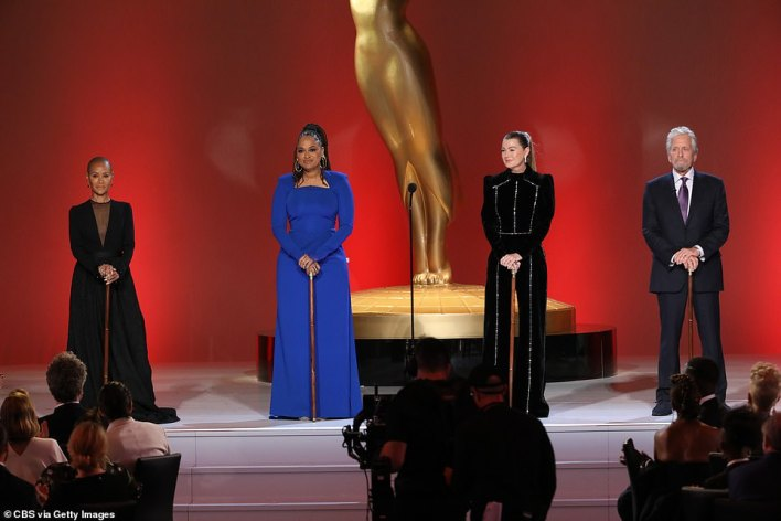 All-star crew: Her costars, collaborators and admirers Jada Pinkett Smith, Ava DuVernay, Ellen Pompeo and Michael Douglas assembled to announce her with canes like the one she used in Fame