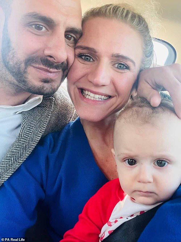 It was Jenny's husband David, a 38-year-old personal trainer, who suggested that the new mom, shown here, look for an at-home workout after she dropped the pounds.