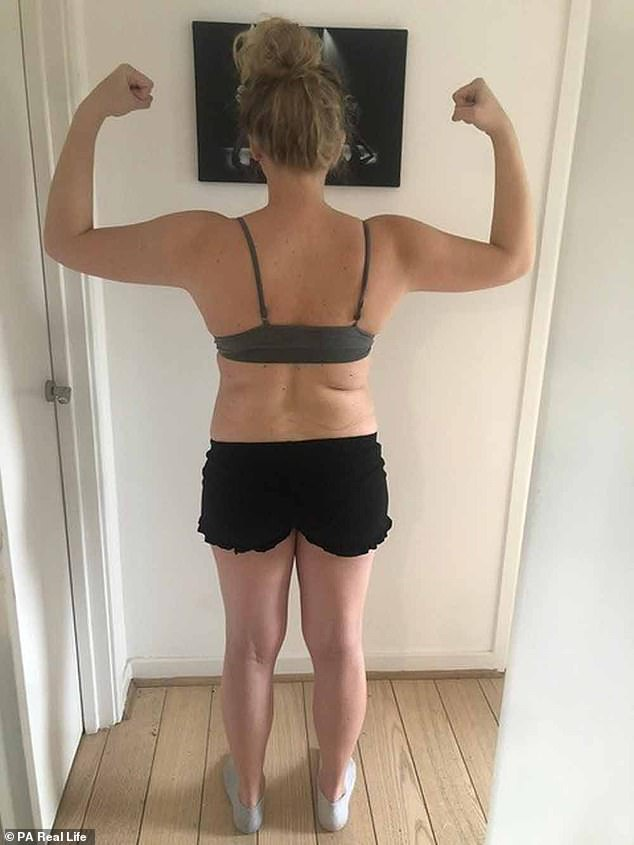Seen here before the weight loss, Jenny said it was her personal trainer husband, David, 38, who suggested she look for an at-home workout when she couldn't go to the gym during lockdown.