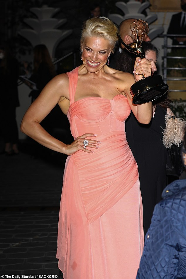 This old thing? It's just AN EMMY!Ted Lasso star Hannah Waddingham joined her victorious co-stars in celebrating their Emmy Award wins at the Sunset Tower Hotel's after-party on Sunday