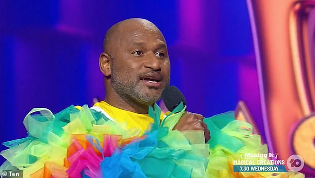 Football star: After the audience chanted 'take it off', the mystery celebrity was revealed to be Lote Tuqiri, 41 (pictured)