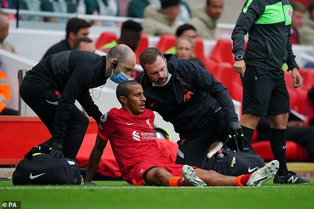 Liverpool's Thiago Alcantara injured his calf in Saturday's 3-0 win over Crystal Palace