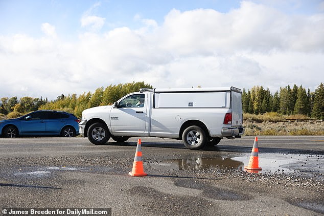 The Teton County coroner was seen leaving the campsite on Sunday afternoon in what is believed to be Petito's remains