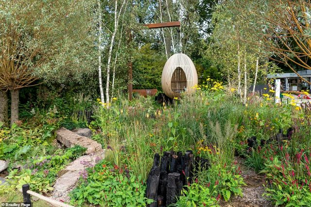 A suspend egg made of wood and surrounded by brushes and wild flowers welcomed visitors at the Yeo Valley Organic garden today