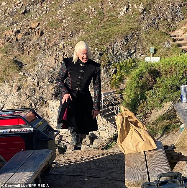 On Location: Matt Smith was well and truly in character as Prince Damon Targaryen as he filmed scenes for House of the Dragon at Kinnes Cove in Cornwall.