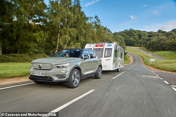 The overall Volvo XC40 recharge wasn't the best electric torquer overall, it outperformed all combustion-engined rivals to pull the 1,500–1,700 kg caravan.