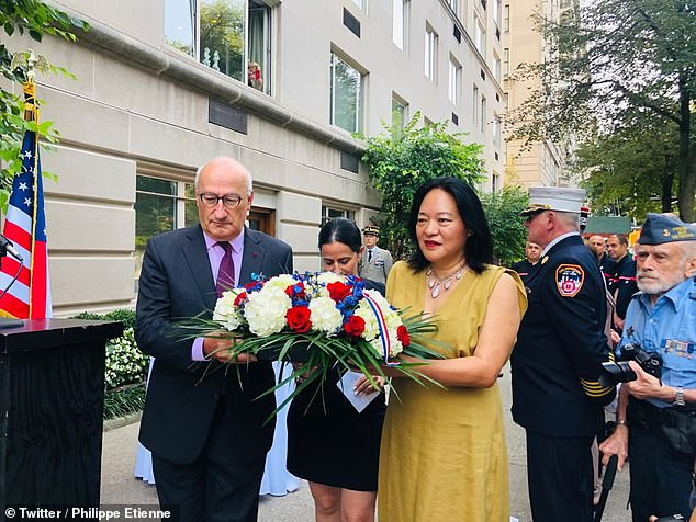 France's Ambassador to the United States, Philippe Etienne in a ceremony in honor of the French victims of the 9/11 terrorist attacks at the Consulate General of France in NY on Sept 11/2021. Etienne has been recalled to Paris amid the dispute