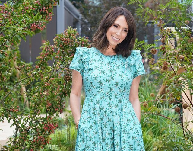 Sporting a bouncy blow-dry, Alex Jones, who welcomed a baby daughter on August 21, looked beautiful in the light blue day dress