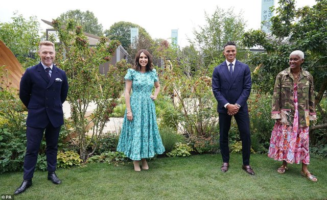 The three BBC presenters opened the garden with Arit Anderson, pictured right, who designed it for the BBC on the show's occasion