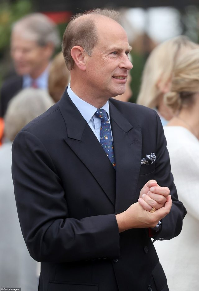 Joining them was Prince Edward, who sported a black suit and patterned tie. This year's RHS Chelsea Flower Show was delayed from its usual spring dates due to the Covid-19 pandemic, which also prompted its cancellation last year