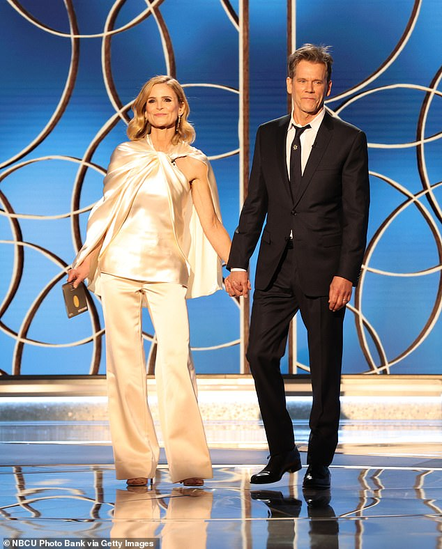 Glam couple: The pair are seen above at the Golden Globes in February this year