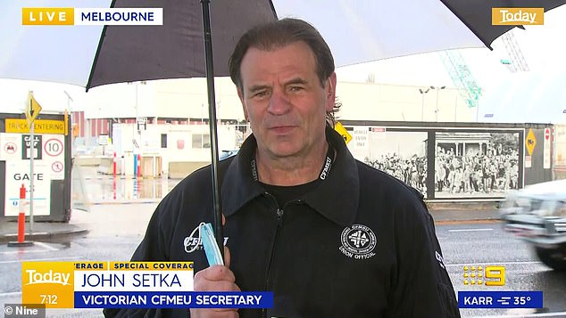 CFMEU boss John Setka (pictured) slammed the actions of fake tradies and neo Nazis