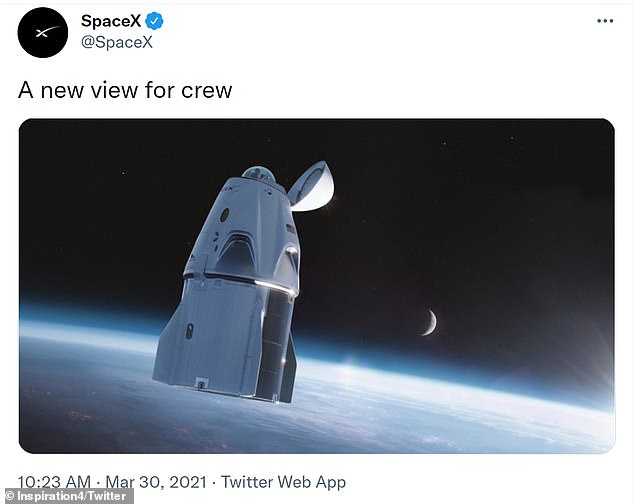 When SpaceX first showed off the glass dome in March, Musk said the window would give the crew 'probably the most 'in space' ... feeling that they might be in a glass dome