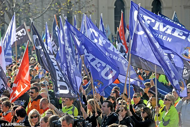 Mondahy's protesters might not have been demonstrating under the banner of the CFMEU but the union is considered the most militant and uncompromising in the country. Construction workers are pictured at a rally in Melbourne in 2017