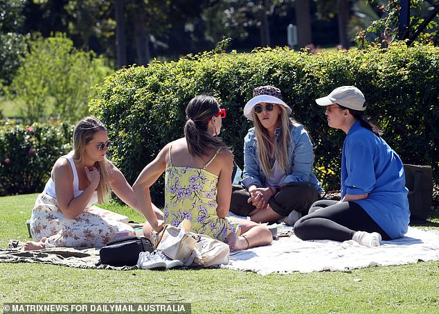 Online users simply need to drop multiple pins for nearby friends after searching for an address, allowing them to then figure out the perfect place to catch over a glass of wine, a cheeky beer and good conversation (pictured, a group of women catch up in Sydney's Centennial Park)